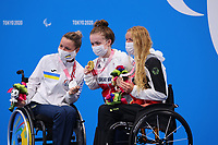 26th August 2021; Tokyo, Japan; Silver medalist MERESHKO Yelyzaveta (UKR), gold medalist SUMMERS-NEWTON Maisie (GBR), and bronze medalist SCHOTT Verena (GER) celebrate on the podium for the Swimming : Women's 200m Individual Medley - SM6 Final - Medal Ceremony on August 26, 2021 during the Tokyo 2020 Paralympic Games at the Tokyo Aquatics Centre in Tokyo, Japan.
