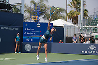 San Jose, CALIFORNIA - Friday August 3, 2018: Elise Mertens defeated Johanna Konta in straight sets 7-6 6-3 at Silicon Valley Classic in San Jose.