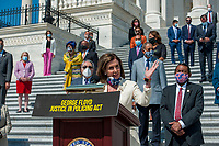 Speaker of the United States House of Representatives Nancy Pelosi (Democrat of California) offers remarks while she is joined by other members of Congress on the House steps of the US Capitol, for a press conference ahead of the vote on the George Floyd Justice in Policing Act of 2020 in Washington, DC., Thursday, June 25, 2020. <br /> Credit: Rod Lamkey / CNP/AdMedia