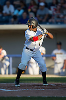 Adron Chambers (1) of the Sussex County Miners at bat against the New Jersey Jackals at Skylands Stadium on July 29, 2017 in Augusta, New Jersey.  The Miners defeated the Jackals 7-0.  (Brian Westerholt/Four Seam Images)
