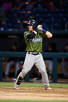 Biloxi Shuckers catcher Tyler Heineman (8) at bat during a game against the Jacksonville Jumbo Shrimp on June 8, 2018 at Baseball Grounds of Jacksonville in Jacksonville, Florida.  Biloxi defeated Jacksonville 5-3.  (Mike Janes/Four Seam Images)