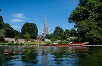 BNPS.co.uk (01202) 558833<br /> Pic: ZacharyCulpin/BNPS<br /> <br /> Weather input<br /> <br /> A Punt floats serenely up the River Avon with the Salisbury Cathedral providing a stunning backdrop on a blazing hot June day in Wiltshire this week.<br /> <br /> The landscape was made famous by artist John Constable who painted 'Salisbury Cathedral from the Meadows' in 1831 almost a year after his wife Maria died.