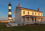 Cape Hatteras, North Carolina: Bodie Isand Lighthouse (1872) at dusk, Outer Banks of North Carolina