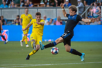 San Jose, CA - Saturday August 03, 2019: Luis Argudo #2, Florian Jungwirth #23 in a Major League Soccer (MLS) match between the San Jose Earthquakes and the Columbus Crew at Avaya Stadium.