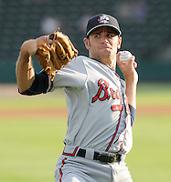 Starting pitcher Sean Gilmartin (2) of the Rome Braves, Class A affiliate of the Atlanta Braves, prior to a game against the Greenville Drive on August 16, 2011, at Fluor Field at the West End in Greenville, South Carolina. Gilmartin was Atlanta's first-round pick (No. 28 overall) in the 2011 First-Year Player Draft out of Florida State. Making his second start of the season, he pitched four scoreless innings, giving up one hit and striking out four. (Tom Priddy/Four Seam Images)