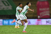 MEDELLÍN- COLOMBIA,  03-04-2021 .Michael Chacon del Atlético Nacional celebra después de anotar el gol de su equipo durante partido por la fecha 17 entre Atlético Nacional y Envigado como parte de la Liga BetPlay DIMAYOR 2021 jugado en el estadio  Atanasio Girardot de la ciudad de Medellín. /Michael Chacon of Atletico Nacional celebrates after scoring the  goal of his team during match for the date 17 between Atletico Nacional and Envigado BetPlay DIMAYOR League I 2021 played at Atanasio Giradot stadium in Medellin city. Photo: VizzorImage / Luis Benavides / Contribuidor