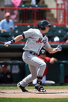 Binghamton Mets outfielder Brandon Nimmo (25) lead off base hit during a game against the Erie Seawolves on July 13, 2014 at Jerry Uht Park in Erie, Pennsylvania.  Binghamton defeated Erie 5-4.  (Mike Janes/Four Seam Images)