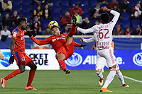 Harrison, NJ - Thursday March 01, 2018: German Mejía, Michael Murillo. The New York Red Bulls defeated C.D. Olimpia 2-0 (3-1 on aggregate) during a 2018 CONCACAF Champions League Round of 16 match at Red Bull Arena.