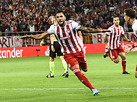 Olympiakos's Guerrero celebrates his goal during the UEFA Champions League playoff first leg soccer match between Olympiakos and Krasnodar at Karaiskaki stadium in Piraeus, Greece, on 21 August 2019