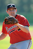 Pitcher Tyler Brosius (23) of the Atlanta Braves farm system in a Minor League Spring Training workout on Tuesday, March 17, 2015, at the ESPN Wide World of Sports Complex in Lake Buena Vista, Florida. (Tom Priddy/Four Seam Images)