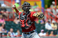 New Britain Rock Cats catcher Kyle Knudson #21 during a game against the Erie Seawolves on June 20, 2013 at Jerry Uht Park in Erie, Pennsylvania.  New Britain defeated Erie 2-0.  (Mike Janes/Four Seam Images)