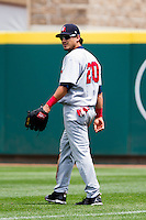 Roberto Lopez (20) of the Arkansas Travelers on defense during a game against the Springfield Cardinals on May 10, 2011 at Hammons Field in Springfield, Missouri.  Photo By David Welker/Four Seam Images.