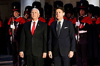Giuseppe Conte and Michael Pence.<br /> Rome January 24th 2020. Palazzo Chigi. The Italian Premier meets the Vice President of the United States.<br /> Foto Samantha Zucchi Insidefoto