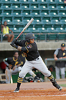 Bristol Pirates catcher Gabriel Brito (52) at bat during a game against the Greeneville Reds at Pioneer Field on June 20, 2018 in Greeneville, Tennessee. Bristol defeated Greeneville 11-0. (Robert Gurganus/Four Seam Images)