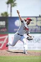 J.R. Bradley (43) of the Visalia Rawhide pitches against the Inland Empire 66ers at San Manuel Stadium on June 5, 2017 in San Bernardino, California. Visalia defeated Inland Empire, 9-1. (Larry Goren/Four Seam Images)