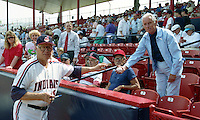 Cleveland Indians legend Bob Feller signs autographs during Spring Training 1992 at Chain of Lakes Park in Winter Haven, Florida.  (MJA/Four Seam Images)