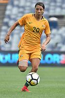 26 November 2017, Melbourne - SAM KERR (20) of Australia runs with the ball during an international friendly match between the Australian Matildas and China PR at GMHBA Stadium in Geelong, Australia.. Australia won 5-1. Photo Sydney Low