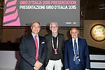 Andrea Monti, Brian Cookson and Renato Di Rocco among the guests at the Giro d'Italia 2015 presentation, Milan, Italy. 6th October 2014. <br /> Photo:Fabio Ferrari/LaPresse/www.newsfile.ie