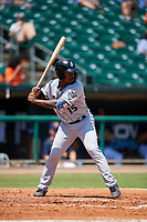 Biloxi Shuckers left fielder Troy Stokes Jr. (15) at bat during a game against the Montgomery Biscuits on May 8, 2018 at Montgomery Riverwalk Stadium in Montgomery, Alabama.  Montgomery defeated Biloxi 10-5.  (Mike Janes/Four Seam Images)