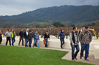 USA. California state. Napa valley. Visitors and workers at Robert Mondavi Winery, To Kalon Vineyard. View on the Oakville vineyards and the Mayacamas hills. Robert Gerald Mondavi (June 18, 1913 – May 16, 2008) was a leading California vineyard operator whose technical improvements and marketing strategies brought worldwide recognition for the wines of the Napa Valley in California. 16.12.2014 © 2014 Didier Ruef