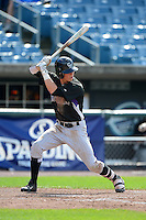 Outfielder Carl Chester (11) of Lake Brantley High School in Longwood, Florida playing for the Colorado Rockies scout team during the East Coast Pro Showcase on July 31, 2013 at NBT Bank Stadium in Syracuse, New York.  (Mike Janes/Four Seam Images)