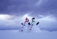 snowman, Vermont, VT, Snowman and snowwoman on a snow-covered hill in winter