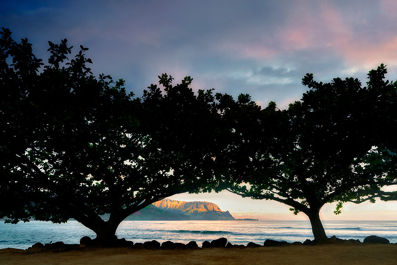 Hanalei Bay and Bali Hai. (Mekana Mountain) with mangrove trees and sunrise. Kauai, Hawaii