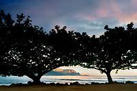 Hanalei Bay and Bali Hai. (Mekana Mountain) with mangrove trees and sunrise. Kauai, Hawaii