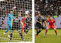 CHICAGO, IL - JULY 7: Andres Guardado #18 heads the ball out of the goal as Guillermo Ochoa #13 and Jordan Morris #11 watch during a game between Mexico and USMNT at Soldier Field on July 7, 2019 in Chicago, Illinois.