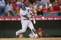 Billy Butler of the Kansas City Royals during a game against the Los Angeles Angels in a 2007 MLB season game at Angel Stadium in Anaheim, California. (Larry Goren/Four Seam Images)