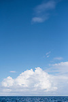 Silver Bank, Dominican Republic; large cloud formations and blue sky over the Atlantic Ocean on a sunny afternoon