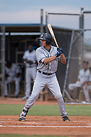 AZL Padres 1 right fielder Agustin Ruiz (24) at bat during an Arizona League game against the AZL Padres 2 at Peoria Sports Complex on July 14, 2018 in Peoria, Arizona. The AZL Padres 1 defeated the AZL Padres 2 4-0. (Zachary Lucy/Four Seam Images)