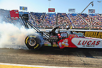 Jul, 8, 2011; Joliet, IL, USA: NHRA top fuel dragster driver Shawn Langdon during qualifying for the Route 66 Nationals at Route 66 Raceway. Mandatory Credit: Mark J. Rebilas-