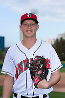 Indianapolis Indians pitcher Mitch Keller (18) poses for a photo before an International League game against the Columbus Clippers at Victory Field on April 29, 2019 in Indianapolis, Indiana. (Zachary Lucy/Four Seam Images)