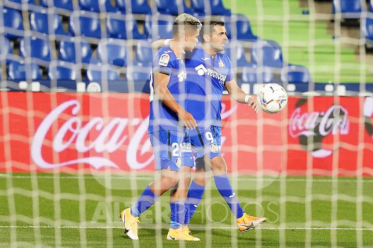 Getafe CF's Cucho Hernandez (l) and Angel Rodriguez celebrate goal during La Liga match. September 29,2020. (ALTERPHOTOS/Acero)