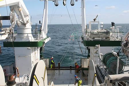 Experimental salmon trawl net being hauled aboard the Celtic Explorer Research Ship, May 2008