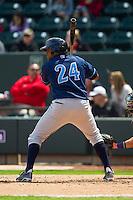 Jorge Bonifacio (24) of the Wilmington Blue Rocks at bat against the Winston-Salem Dash at BB&T Ballpark on April 21, 2013 in Winston-Salem, North Carolina.  The Blue Rocks defeated the Dash 5-3.  (Brian Westerholt/Four Seam Images)
