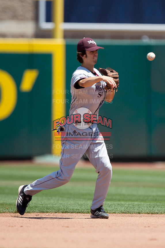 Kevin Medrano (13) of the Missouri State Bears throws to first base during a game against the Wichita State Shockers in the 2012 Missouri Valley Conference Championship Tournament at Hammons Field on May 23, 2012 in Springfield, Missouri. (David Welker/Four Seam Images)