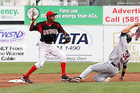 Batavia Muckdogs shortstop Yunier Castillo (7) during a game vs. the Mahoning Valley Scrappers at Dwyer Stadium in Batavia, New York August 2, 2010.  Batavia defeated Mahoning Valley 8-1.  Photo By Mike Janes/Four Seam Images