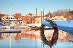 Christmas wreath on a schooner bow in Camden, ME, USA