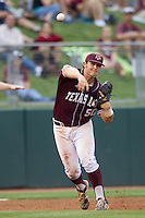 Texas A&M Aggies third baseman Hunter Melton (50) makes a throw to first base against the LSU Tigers in the NCAA Southeastern Conference baseball game on May 10, 2013 at Blue Bell Park in College Station, Texas. LSU defeated Texas A&M 7-4. (Andrew Woolley/Four Seam Images).
