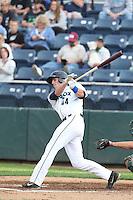 Kyle Petty #44 of the Everett AquaSox bats against the Boise Hawks at Everett Memorial Stadium on July 22, 2014 in Everett, Washington. Everett defeated Boise, 6-0. (Larry Goren/Four Seam Images)