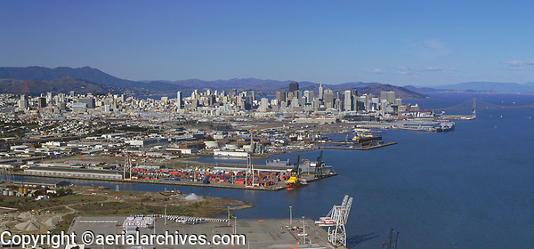 aerial photograph of the Port of San Francisco, Intermodal Container Transfer Facility, including Pier 80--the North Container Terminal and Pier 94