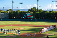 STANFORD, CA - JUNE 7: National Anthem before a game between UC Irvine and Stanford Baseball at Sunken Diamond on June 7, 2021 in Stanford, California.