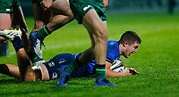 2nd January 2021; RDS Arena, Dublin, Leinster, Ireland; Guinness Pro 14 Rugby, Leinster versus Connacht; Scott Penny of Leinster scoring his sides opening try for 5 - 12