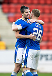 St Johnstone v Dundee…02.10.21  McDiarmid Park.    SPFL<br />Liam Craig gets a hug from Callum Booth at full time after making his 442nd appearance for St Johnstone breaking Steven Anderson's record.<br />Picture by Graeme Hart.<br />Copyright Perthshire Picture Agency<br />Tel: 01738 623350  Mobile: 07990 594431