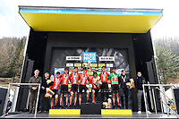 14th March 2020, Paris to Nice cycling tour, final day, stage 7;   Team Sunweb, best team, pictured during the final podium ceremony after stage 7 of the 78th edition of the Paris - Nice cycling race, a stage of 166,5km with start in Nice and finish in Valdeblore La Colmiane on March 14, 2020 in Valdeblore La Colmiane, France