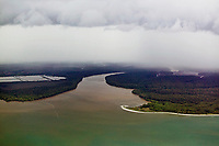 aerial photograph of muddy river sediment flowing into the Pacific Ocean, Panama