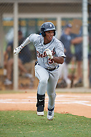 Detroit Tigers Iverson Leonardo (39) runs to first base during an Instructional League instrasquad game on September 20, 2019 at Tigertown in Lakeland, Florida.  (Mike Janes/Four Seam Images)