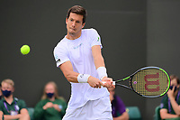 3rd July 2021; Wimbledon, SW London. England; Wimbledon Tennis Championships, day 6;  Aljaz Bedene SLO